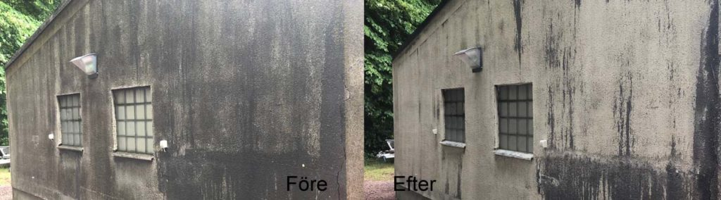 Putsad fasad som tvättats