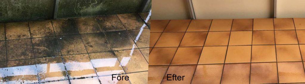 Klinkergolv på balkonger tvättade
