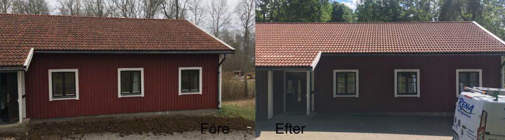 Hustak med mycket mossa rengjordes och tvättades (vi städar även upp runt huset efter taktvätt)
